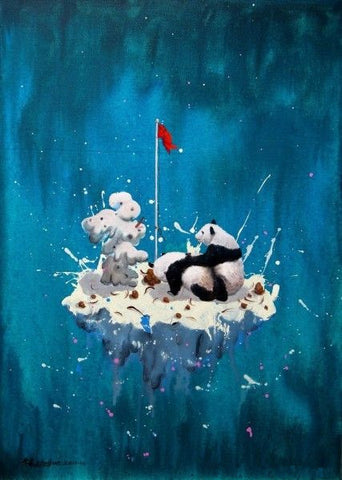 Contemporary Art,Academic,Panda,Love Under Red Flag,Virtual Space,Oil Painting