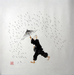 Chinese Culture Zen,Academic,Raining,Chinese Painting