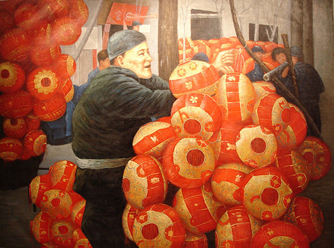 Academic,Happy New Year,Red Lantern,Oil Painting