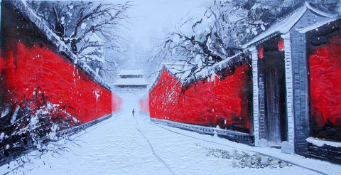 Culture,Beijing Hutong,Loyal Red Wall,Winter Snowing,Oil Painting