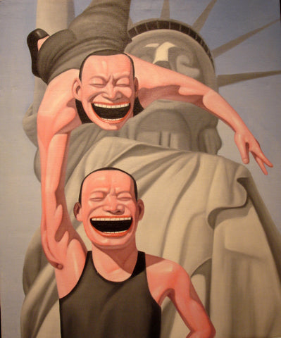 Oil Painting Smile Man Statue of Liberty Humor Play