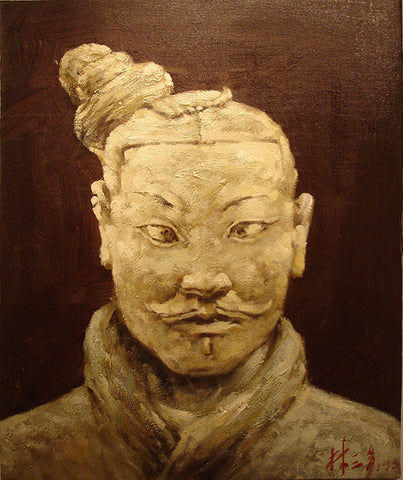 Oil Painting Terra Cotta Warriors Man Soldier Xi'an Qin Dynasty