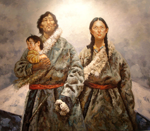 Best,Traditional Culture,Tibet Family before Snow Mountain