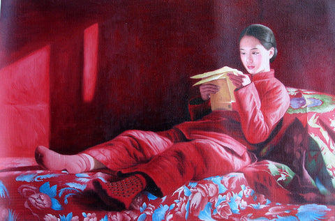 Countryside Girl No.2,Love Letter,Bride,Chinese Traditional Culture,Oil Painting