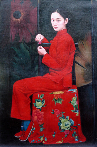 Countryside Girl,Sitting Bride,Chinese Traditional,Oil Painting