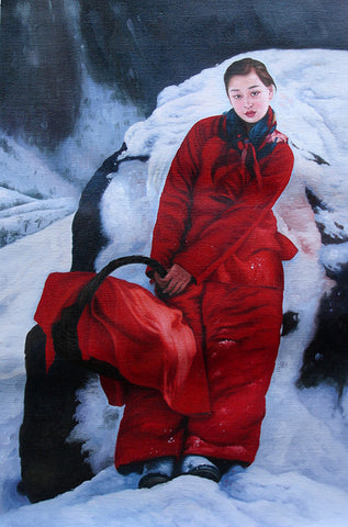 Countryside Girl,Snowing Field,Chinese Traditional,Oil Painting