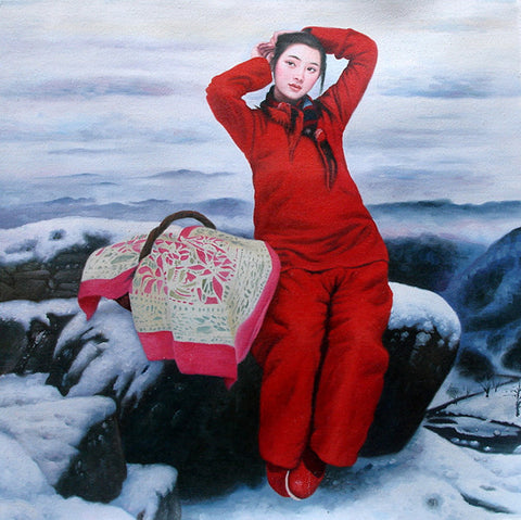 Countryside Girl,Beautiful Winter,Chinese Traditional,Oil Painting