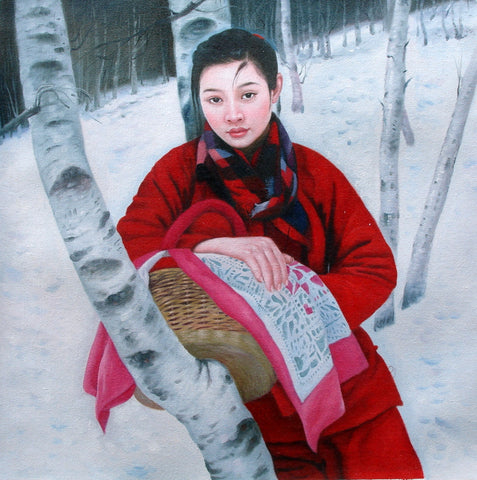 Countryside Girl,Tree,Chinese Traditional,Oil Painting
