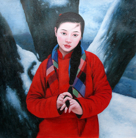 Countryside Girl,Plait Hair,Chinese Traditional,Oil Painting