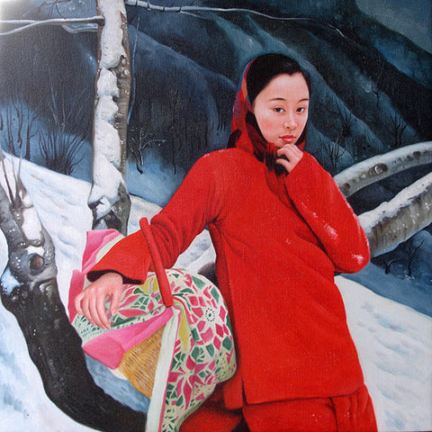 Countryside Shying Girl,Chinese Traditional,Oil Painting