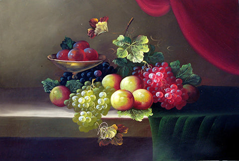 Fruit,Grape,Apple,Oil Painting