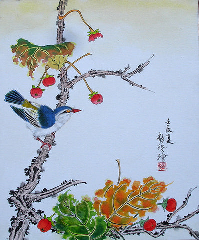 Oil Painting,Bird Song Red Flower Bud