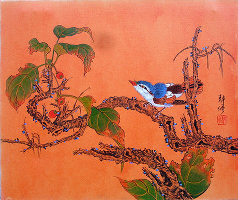 Oil Painting,Bird Song Gree Leaves