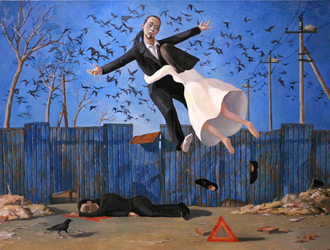 Black Dream,Man,Girl,Bird,Surrealism,Oil Painting