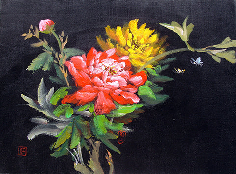 Flower,Peony Butterfly,Black Series No.1,Oil Painting