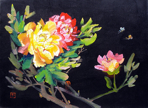 Bloom Flower,Peony Butterfly,Black Series No.2,Academic,Oil Painting