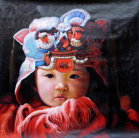 Little Tiger Boy No.1,Tiger Cap,Chinese Traditional,Oil Painting