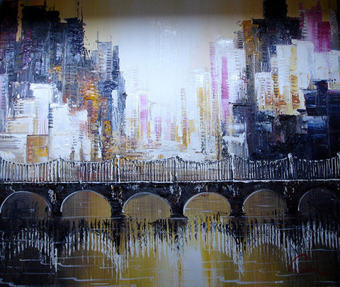 Oil Painting,Abstract Painting,City,Bridge,Large Size