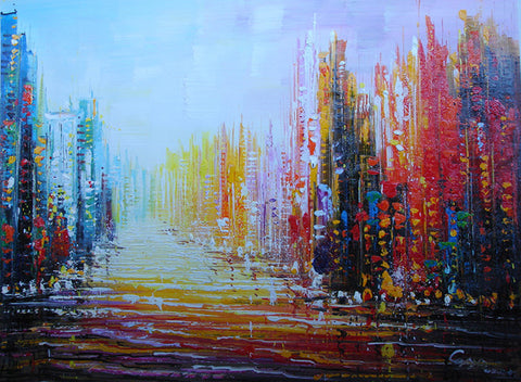 Oil Painting,Abstract Painting,City,Raning Street