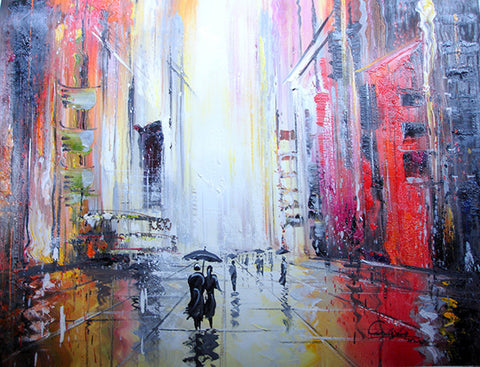 Oil Painting,Abstract Painting,City,Raining Street