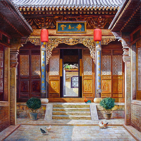 Oil Painting,Traditional Culture,Courtyard Life.No.1