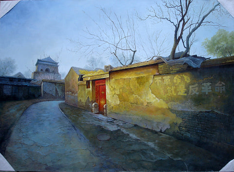 Hutong,Beijing,Bell Tower,Countyard,Traditional Culture,Oil Painting