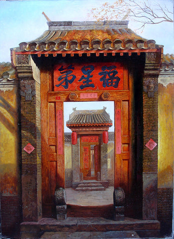 Oil Painting,Traditional Culture,Countyard Life,Hu Tong Home Door No.1
