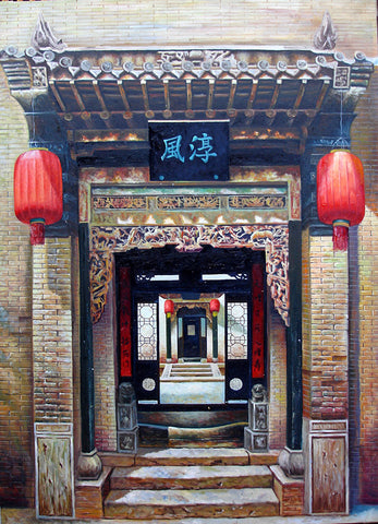Oil Painting,Traditional Culture,Countyard Life,Hu Tong Home Door No.3