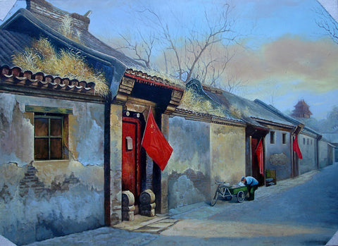Old Street,Red Flag,Traditional Culture,Courtyard Life,Oil Painting