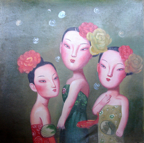 Girl In Tang Dynasty,Flower,Oil Painting