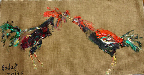 Academic,Animal,Coq,Fight,Oil Painting