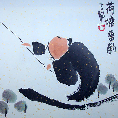 Chinese Painting,Traditional,Life Philosophy,Fishing,Black Version