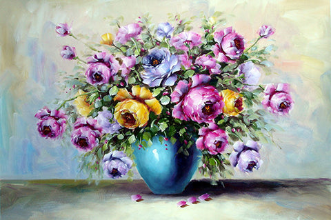 Flower No.4 Rose In Blue Vase Horizontal,Oil Painting