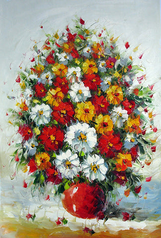 Flower No.11 Red Vase Vertical,Oil Painting