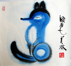 Chinese Painting,Fox,Blue,Chinese Zodiac,Animal