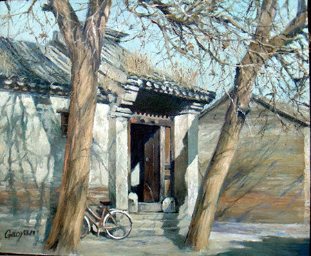 Academic,Beijing,Hu Tong,Traditional Culture,Summer Shadow,Oil Painting