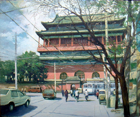 Academic,Beijing,Hu Tong,Traditional Culture,Drum Tower No.1,Oil Painting