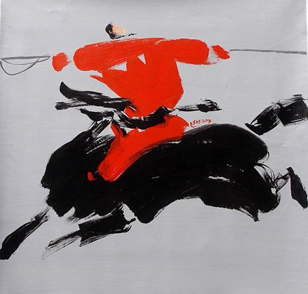 Abstract,Chinese Culture,Horse,Riding,Oil Painting