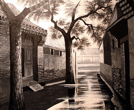 Best Selling,Chinese Culture,Beijing,Hutong No.1,Black and White,Oil Painting