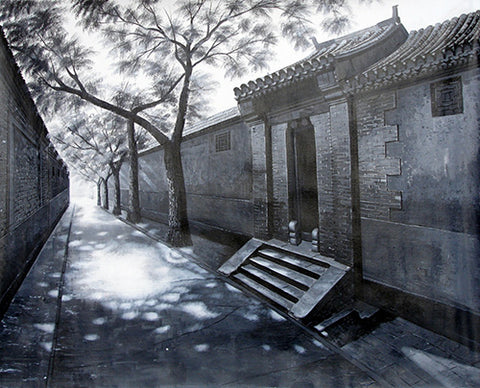 Chinese Culture,Beijing,Hutong No.2,Black and White,Oil Painting