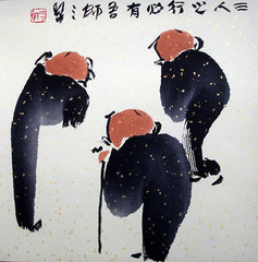 Chinese Painting,Traditional,Life Philosophy,Confucius,Three Friends,Black Version