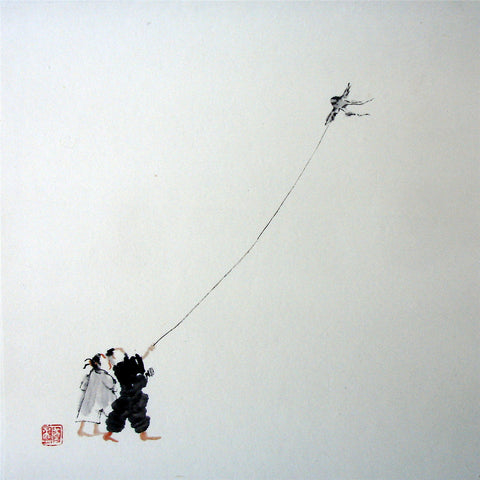 Chinese Culture Zen,Academic,Boy Kite,Chinese Painting