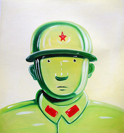 Contemporary Art,Leifeng,Army,Soldier,Green Version,Chinese Culture,Oil Painting