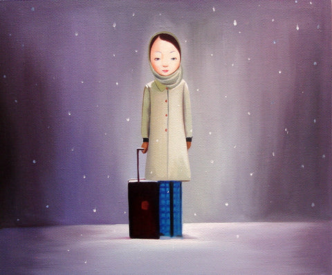 Best Selling,Contemporary Art,Girl,luggage,Christmas,Oil Painting