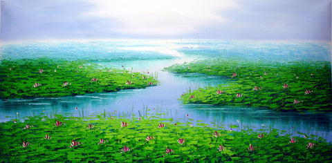 Lotus Pool XL Size,Traditional Culture,Oil Painting