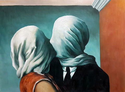 Kiss,Lovers,René Magritte,Oil Painting