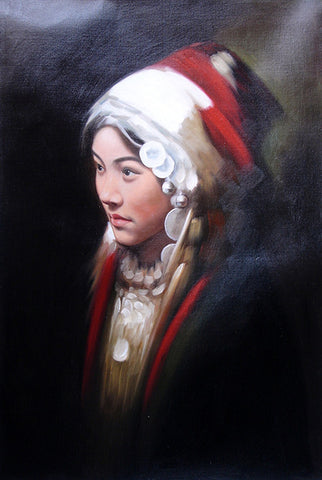 Oil Painting, Girl Miao Nationality Large Size No.3