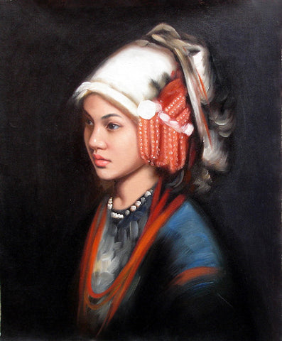 Oil Painting, Girl Miao Nationality,Classic Size No.3