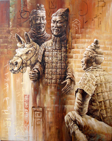 Chinese Culture,Terra Cotta Warriors,Solider,Oil Painting
