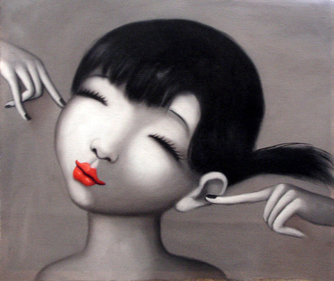 Oil Painting Girl Love Red Kiss NO.4